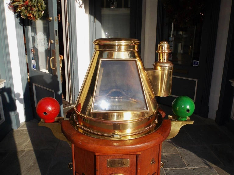 Hand-Carved German Mahogany & Brass Nautical Binnacle, Maker Kreuziger Hamburg 11 Circa 1870 For Sale