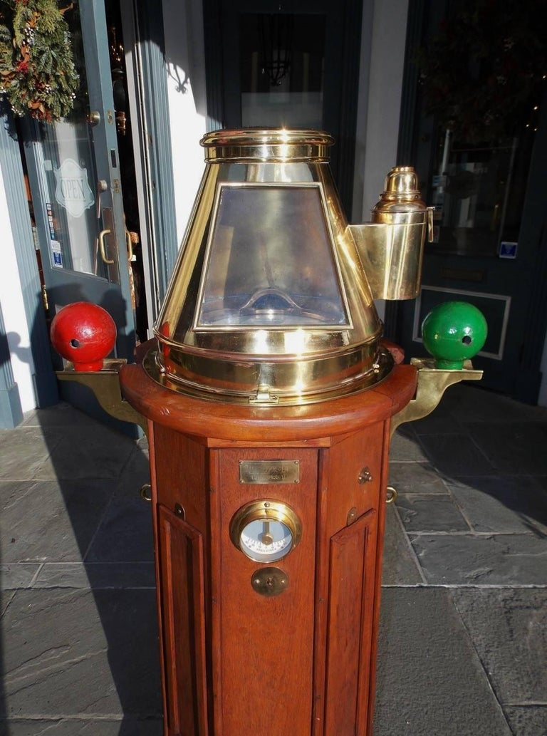 Victorian German Mahogany & Brass Nautical Binnacle, Maker Kreuziger Hamburg 11 Circa 1870 For Sale