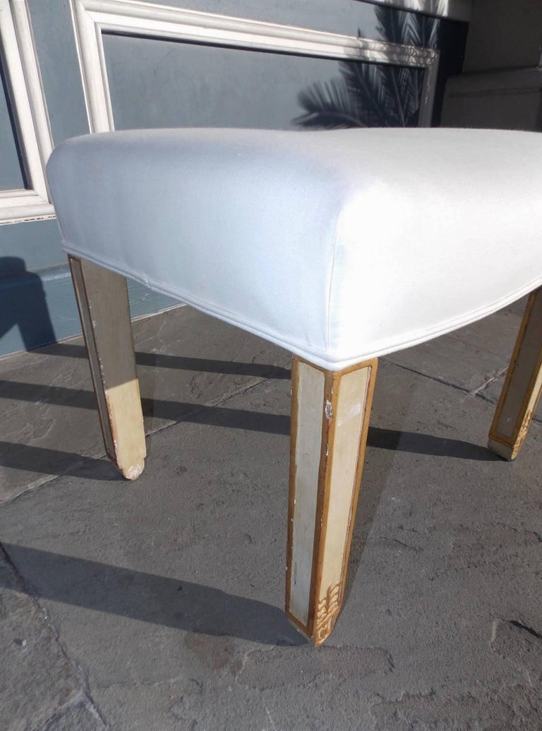 French Painted And Giltwood Stool With Upholstered Muslin