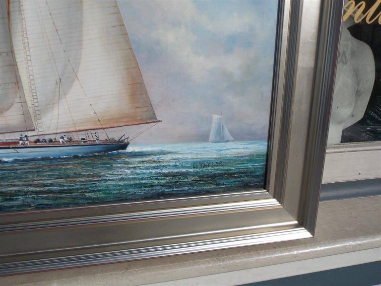 Hand-Crafted American Oil on Canvas of Two Masted Schooner Yacht under Full Sail,  20th C.  For Sale
