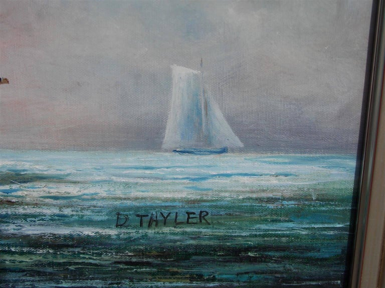 American Oil on Canvas of Two Masted Schooner Yacht under Full Sail,  20th C.  In Excellent Condition For Sale In Charleston, SC