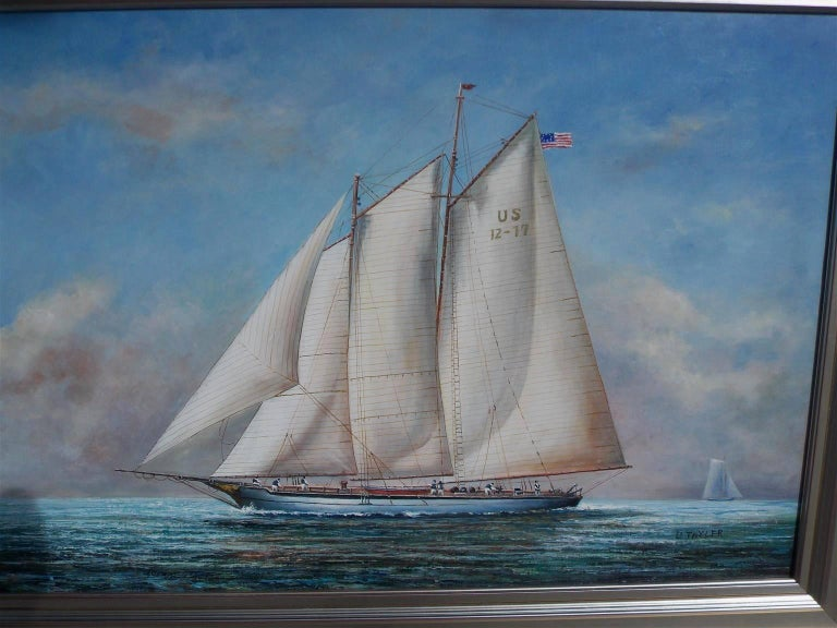 American Classical American Oil on Canvas of Two Masted Schooner Yacht under Full Sail,  20th C.  For Sale