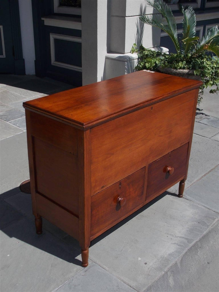 Sheraton American Walnut Hinged Top Compartmentalized Two Drawer Sugar Chest, Circa 1820 For Sale