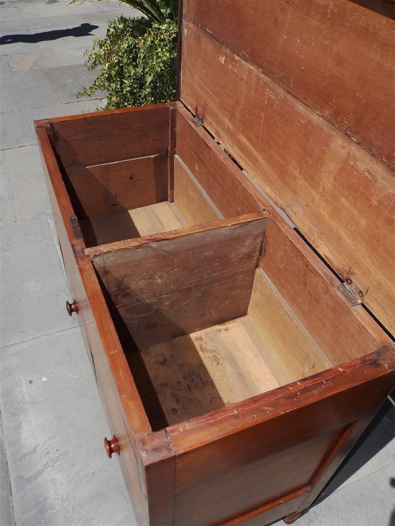 American Walnut Hinged Top Compartmentalized Two Drawer Sugar Chest, Circa 1820 For Sale 5