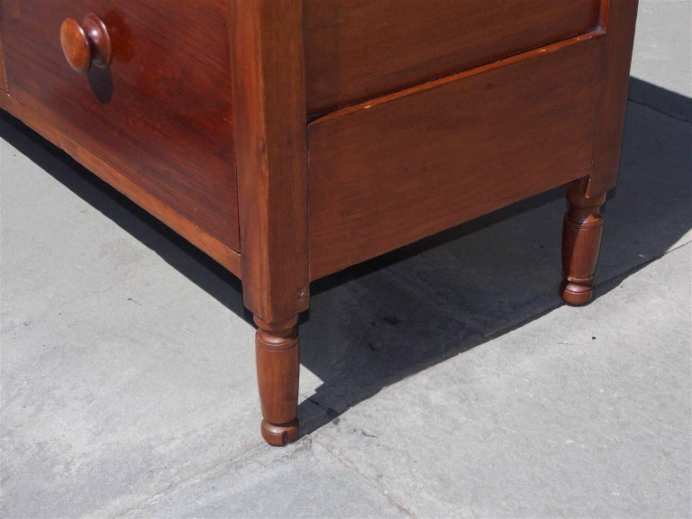 American Walnut Hinged Top Compartmentalized Two Drawer Sugar Chest, Circa 1820 For Sale 1