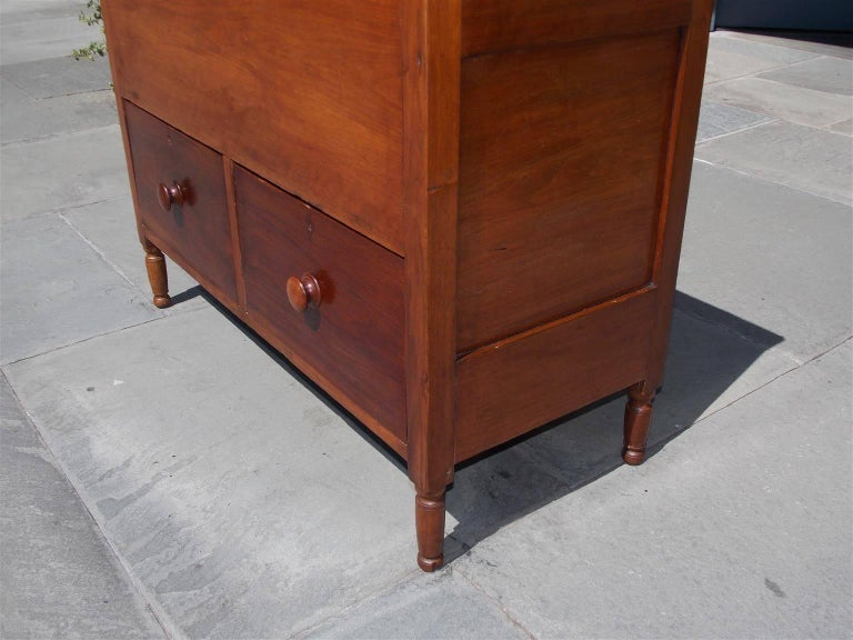 Poplar American Walnut Hinged Top Compartmentalized Two Drawer Sugar Chest, Circa 1820 For Sale