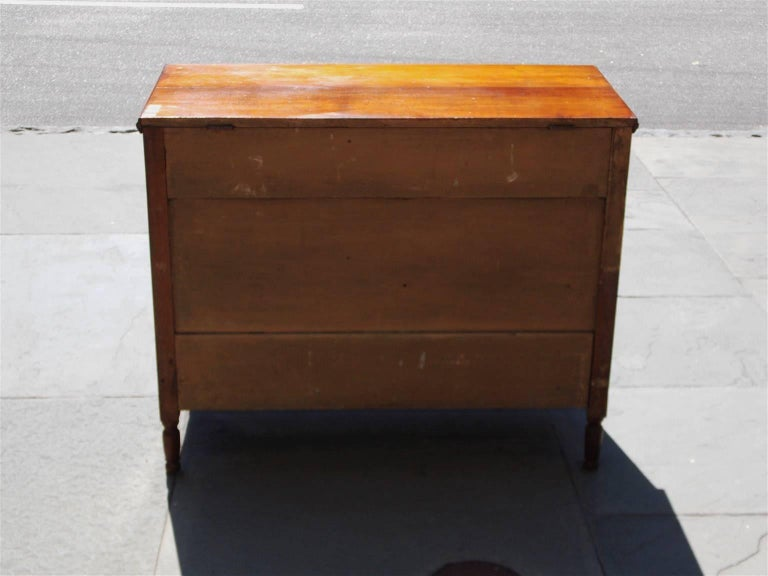 American Walnut Hinged Top Compartmentalized Two Drawer Sugar Chest, Circa 1820 For Sale 2