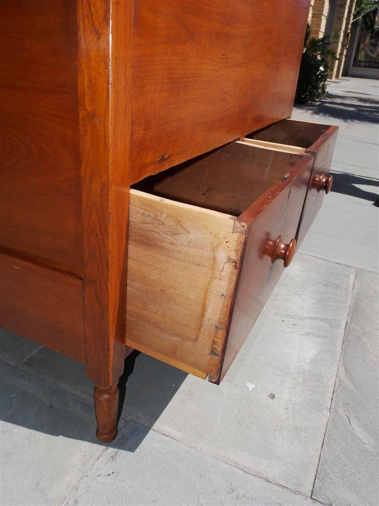 American Walnut Hinged Top Compartmentalized Two Drawer Sugar Chest, Circa 1820 For Sale 9