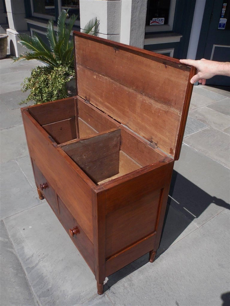 American Walnut Hinged Top Compartmentalized Two Drawer Sugar Chest, Circa 1820 For Sale 4