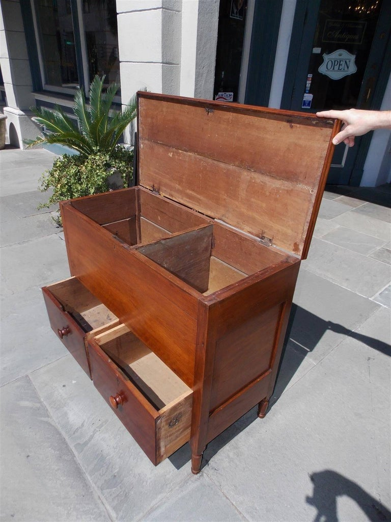 American Walnut Hinged Top Compartmentalized Two Drawer Sugar Chest, Circa 1820 For Sale 7
