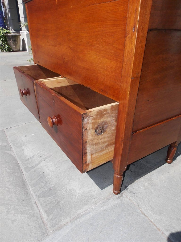 American Walnut Hinged Top Compartmentalized Two Drawer Sugar Chest, Circa 1820 For Sale 8
