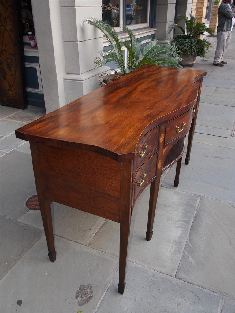 Cast English Mahogany Serpentine Tambour and Inlaid Sideboard, Circa 1790 For Sale