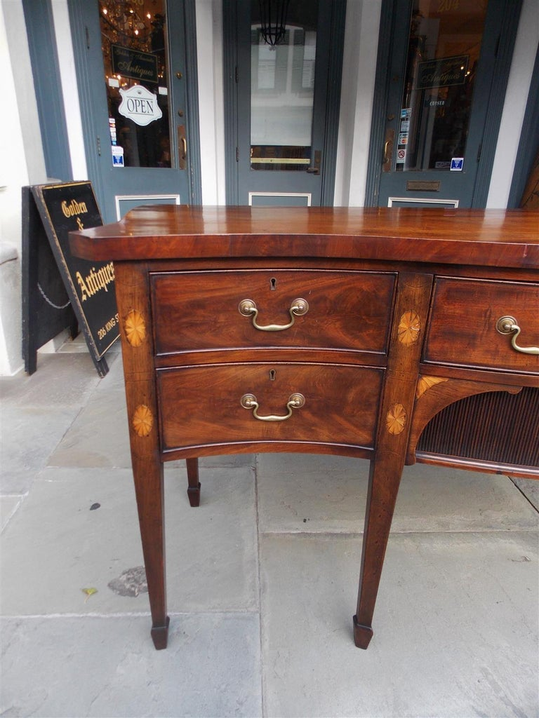 Late 18th Century English Mahogany Serpentine Tambour and Inlaid Sideboard, Circa 1790 For Sale