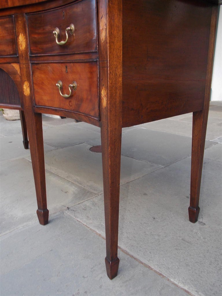 English Mahogany Serpentine Tambour and Inlaid Sideboard, Circa 1790 For Sale 5