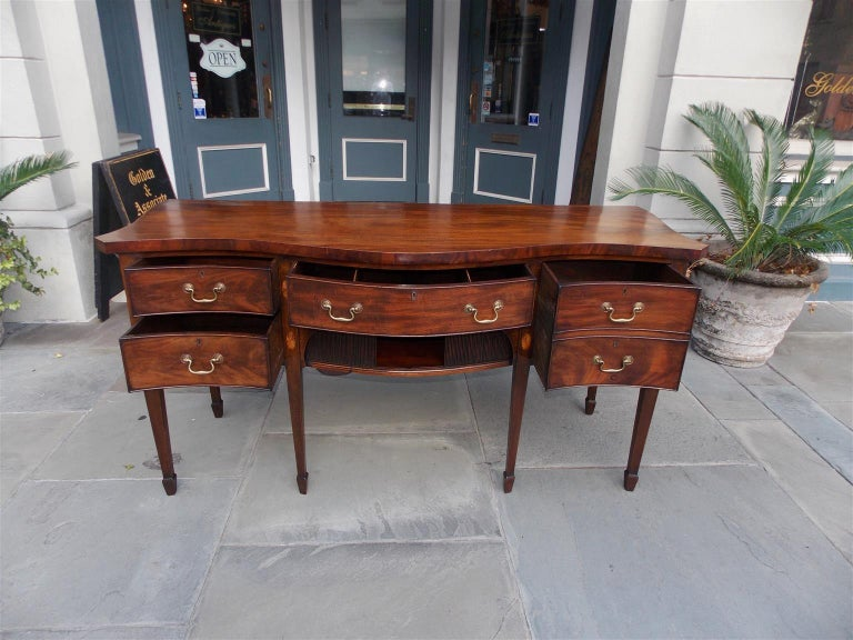 English Mahogany Serpentine Tambour and Inlaid Sideboard, Circa 1790 For Sale 6