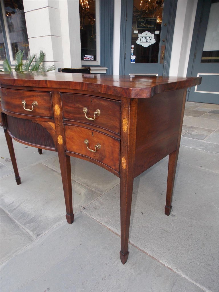 English Mahogany Serpentine Tambour and Inlaid Sideboard, Circa 1790 For Sale 3