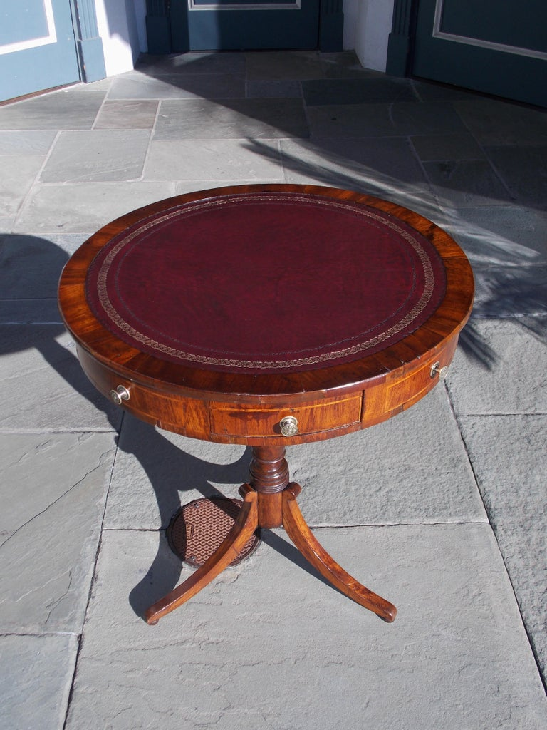 Hand-Carved English Regency Mahogany Circular Leather Top Inlaid Drum Table, Circa 1815 For Sale