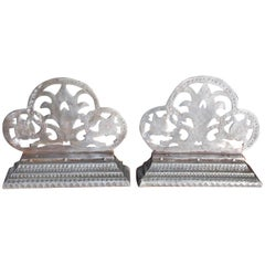 Pair of English Polished Steel Hand Chase Decorative Floral Bookends, Circa 1830