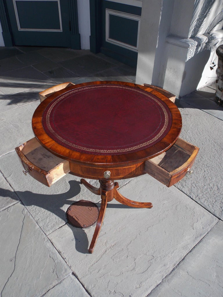 English Regency Mahogany Circular Leather Top Inlaid Drum Table, Circa 1815 For Sale 1