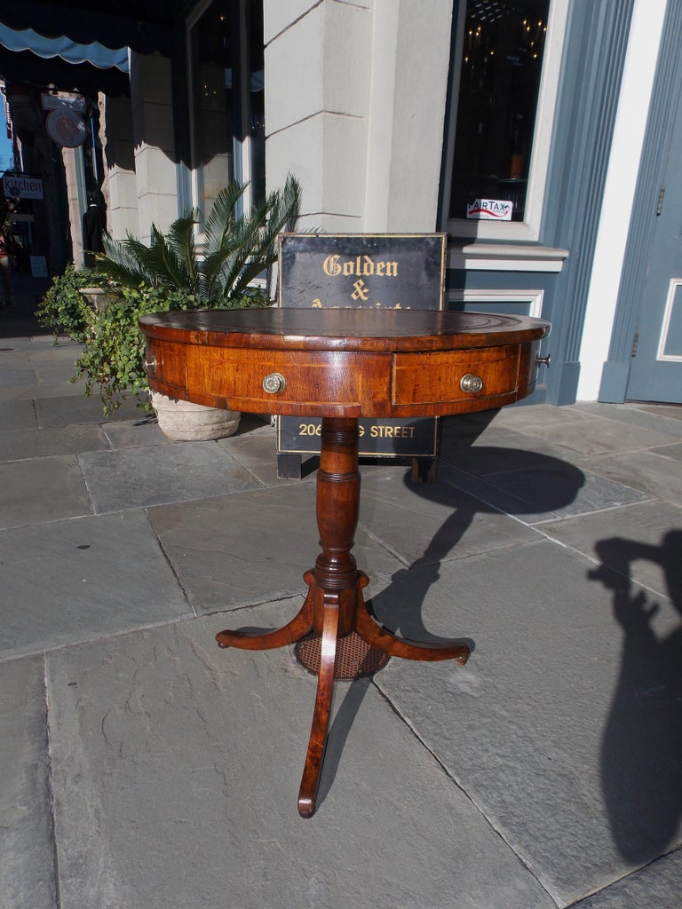 Early 19th Century English Regency Mahogany Circular Leather Top Inlaid Drum Table, Circa 1815 For Sale