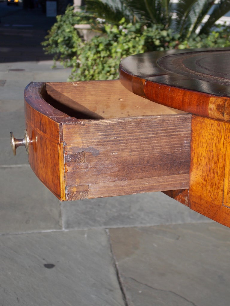 English Regency Mahogany Circular Leather Top Inlaid Drum Table, Circa 1815 For Sale 3