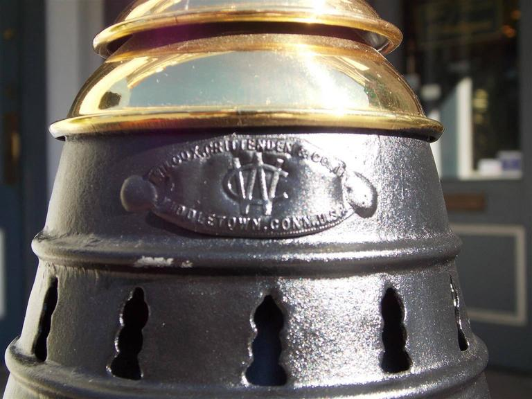 American Polished Steel and Brass Single Anchor Lantern, Circa 1880 For Sale 3