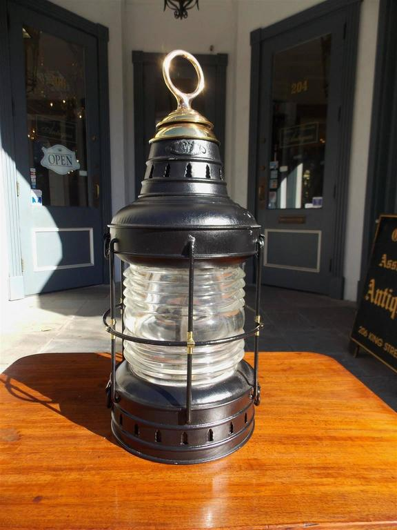 American Polished Steel and Brass Single Anchor Lantern, Circa 1880 For Sale 1