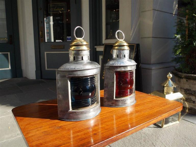 Pair of American Polished Steel and Brass Nautical Ship Lanterns. Circa 1880 In Excellent Condition For Sale In Charleston, SC