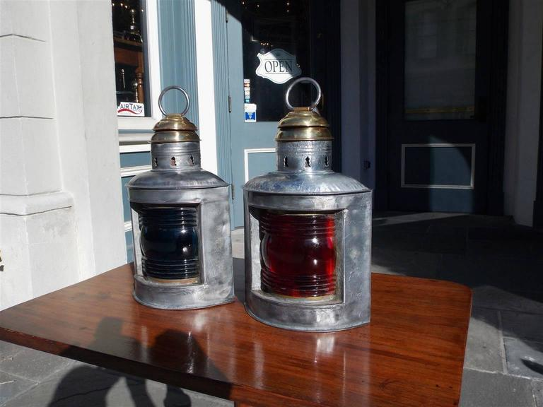 Cast Pair of American Polished Steel and Brass Nautical Ship Lanterns. Circa 1880 For Sale