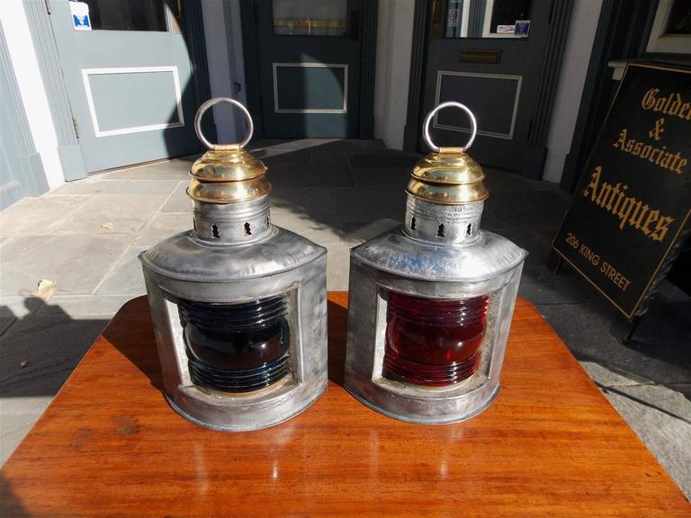 American Empire Pair of American Polished Steel and Brass Nautical Ship Lanterns. Circa 1880 For Sale