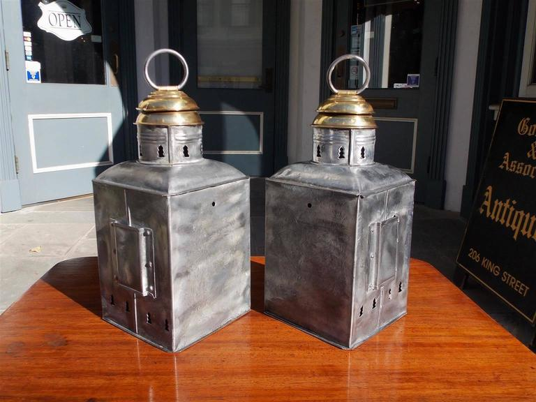 Late 19th Century Pair of American Polished Steel and Brass Nautical Ship Lanterns. Circa 1880 For Sale