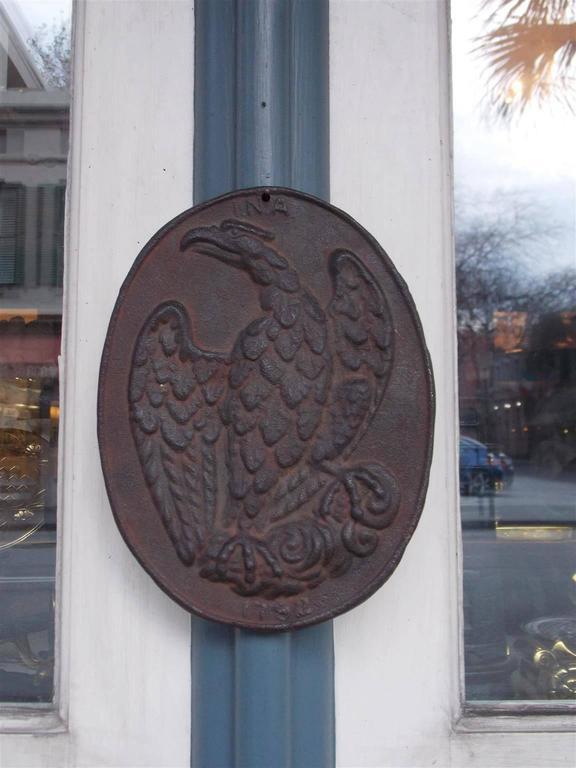 American Cast Iron Ina Eagle Fire Mark Circa 1796 For