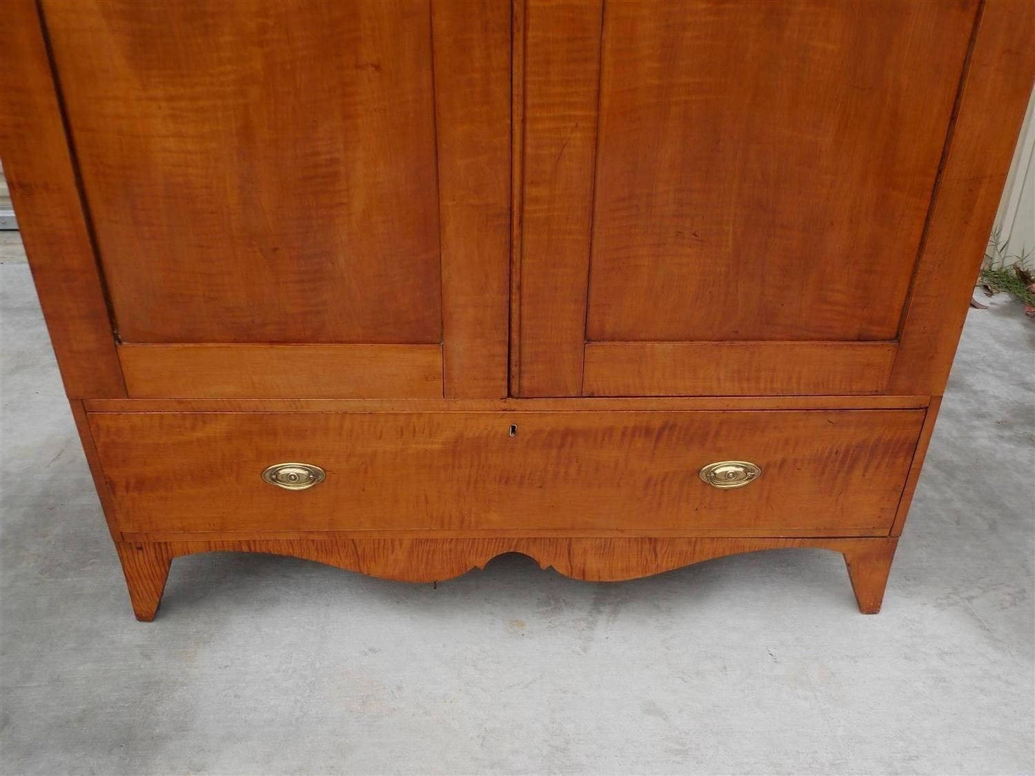 American Hepplewhite Tiger Maple Armoire Circa 1800 For Sale At 1stdibs