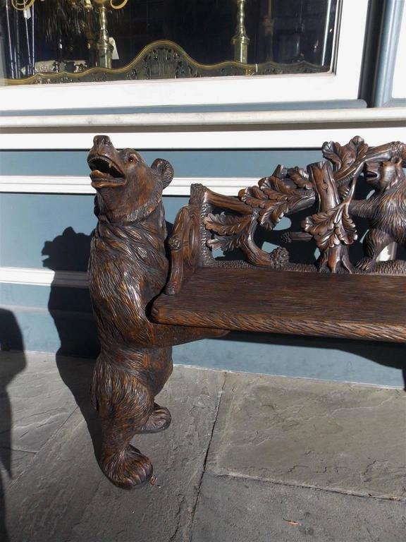 Switzerland Black Forest Carved Bear Bench, Circa 1900 at ...