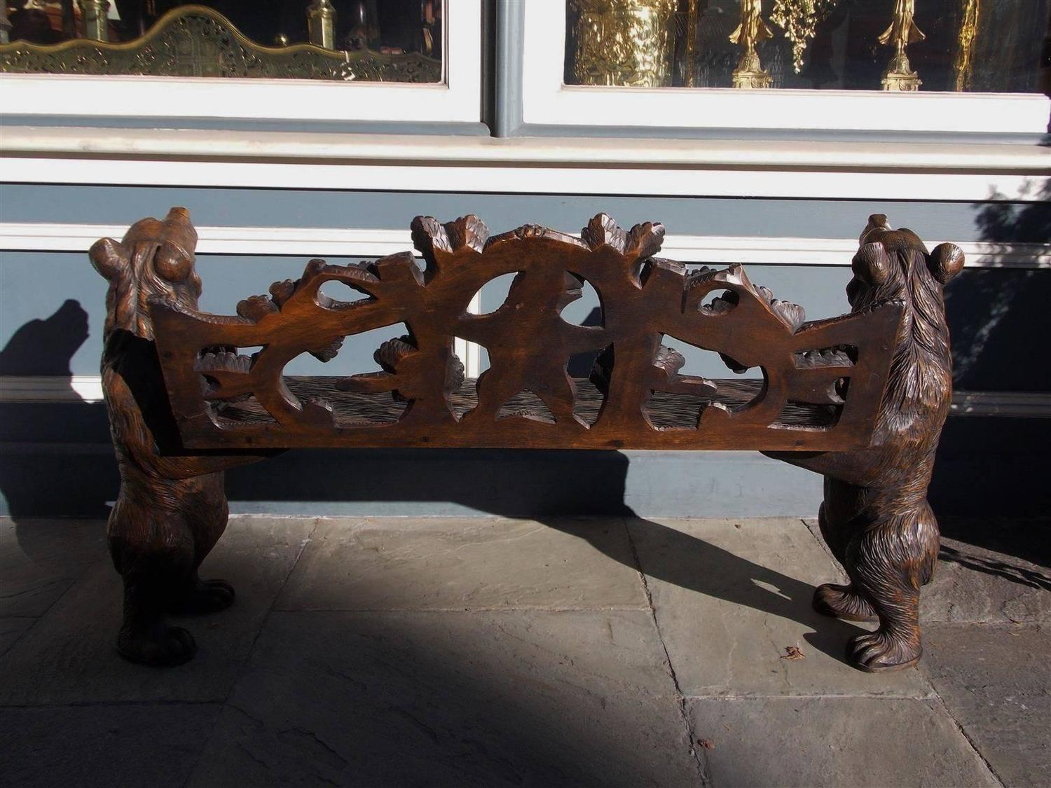 Switzerland Black Forest Carved Bear Bench Circa 1900 For