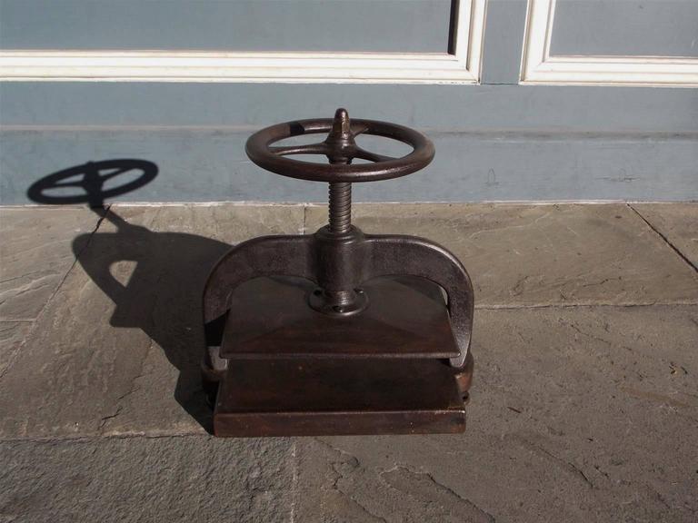 Early 19th Century American Cast Iron Book Press.  Circa 1820 For Sale