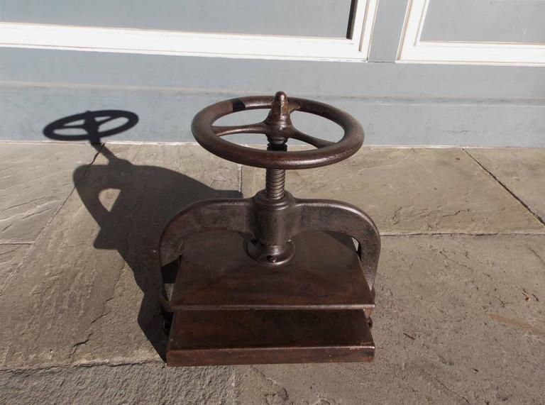 American Empire American Cast Iron Book Press.  Circa 1820 For Sale
