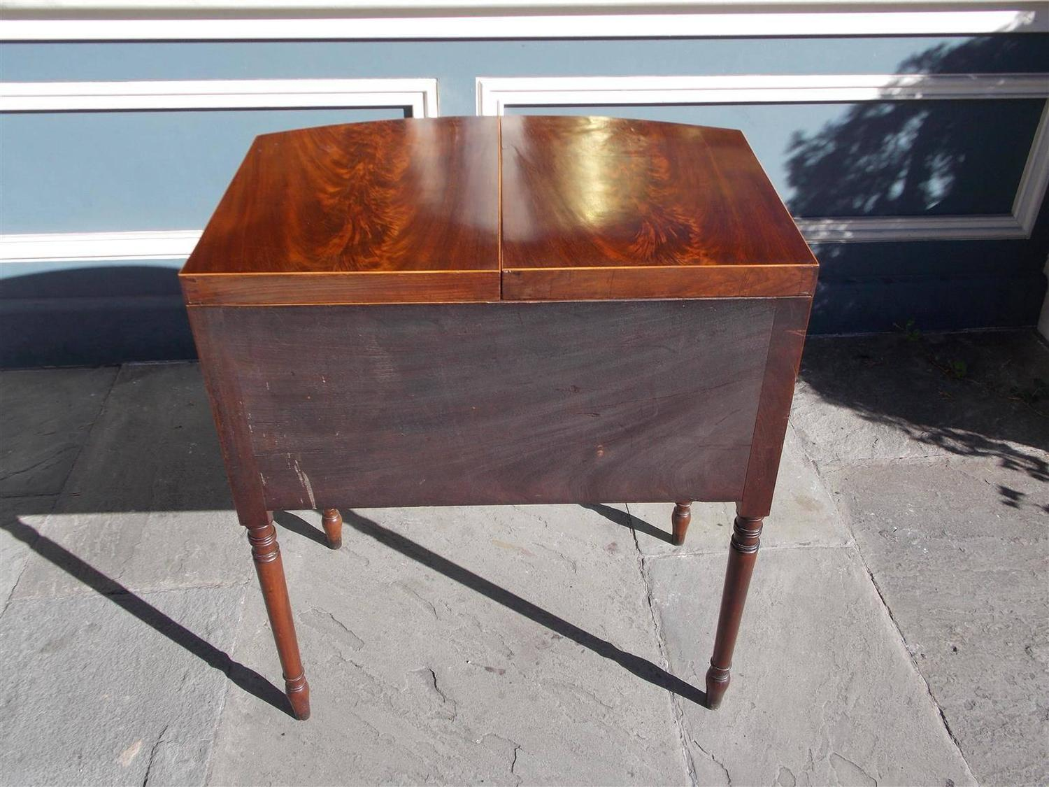 English mahogany bow front inlaid ladies dressing table for Womens dressing table