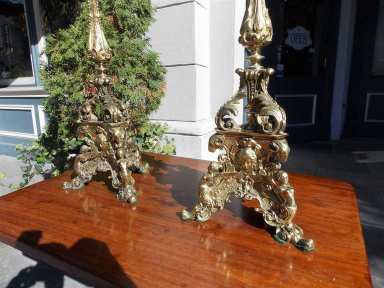 Pair of Italian Bronze Figural and Floral Candelabras, Circa 1830 For Sale 2