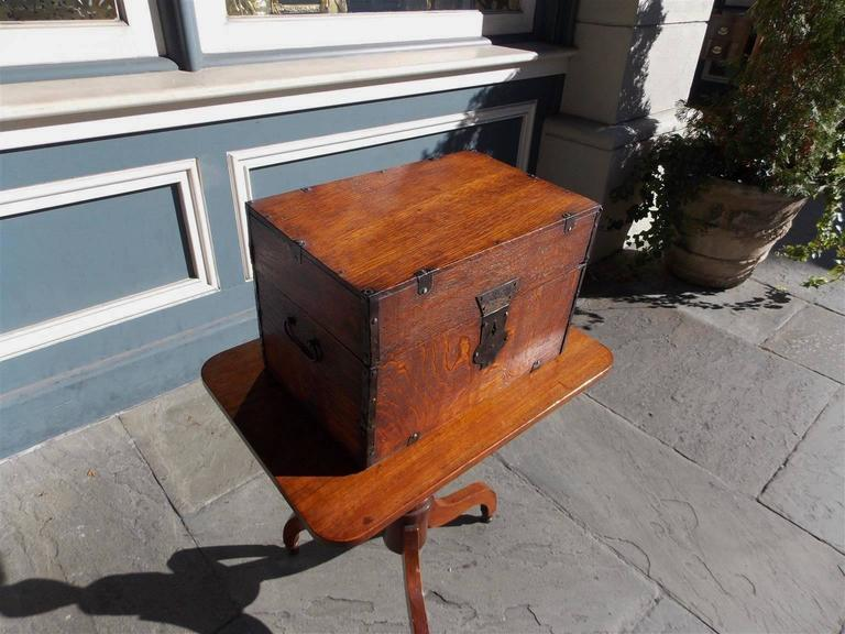 Gilt  English Oak Liquor Bottle Traveling Case, Circa 1780 For Sale