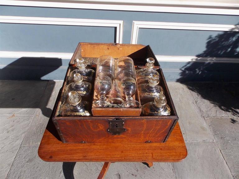 Blown Glass  English Oak Liquor Bottle Traveling Case, Circa 1780 For Sale