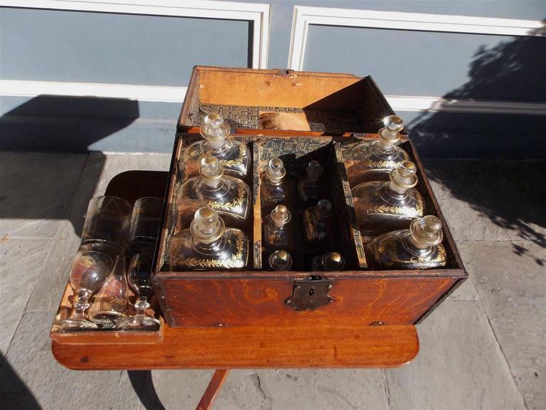 English Oak Liquor Bottle Traveling Case, Circa 1780 For Sale 2