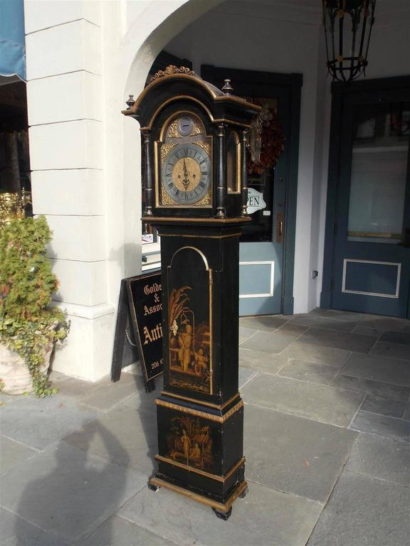 Gustavian Swedish Black Lacquered and Gilt Chinoiserie Tall Case Clock, Lanner, Circa 1775 For Sale