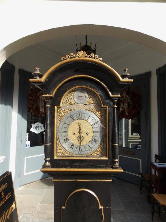 Swedish Black Lacquered and Gilt Chinoiserie Tall Case Clock, Lanner, Circa 1775 In Excellent Condition For Sale In Charleston, SC