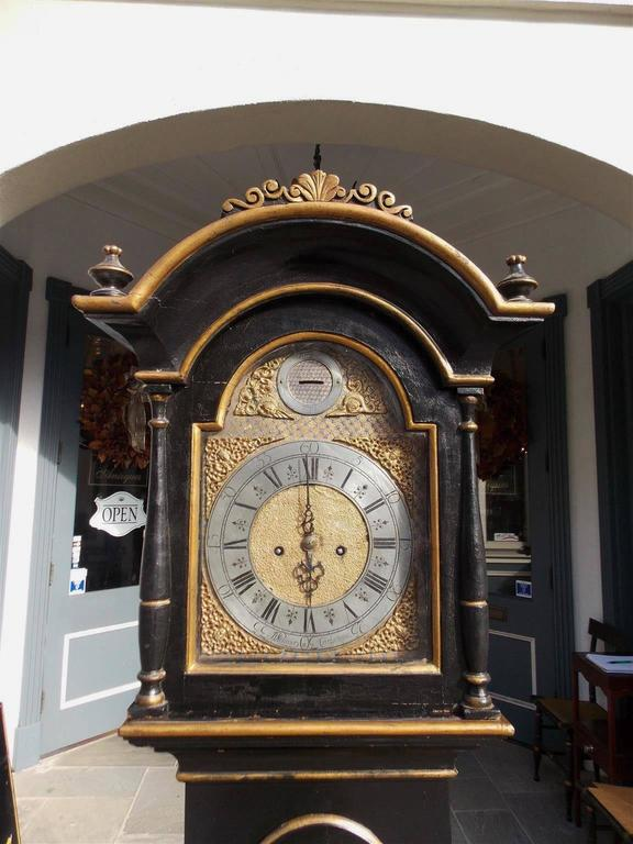 Late 18th Century Swedish Black Lacquered and Gilt Chinoiserie Tall Case Clock, Lanner, Circa 1775 For Sale