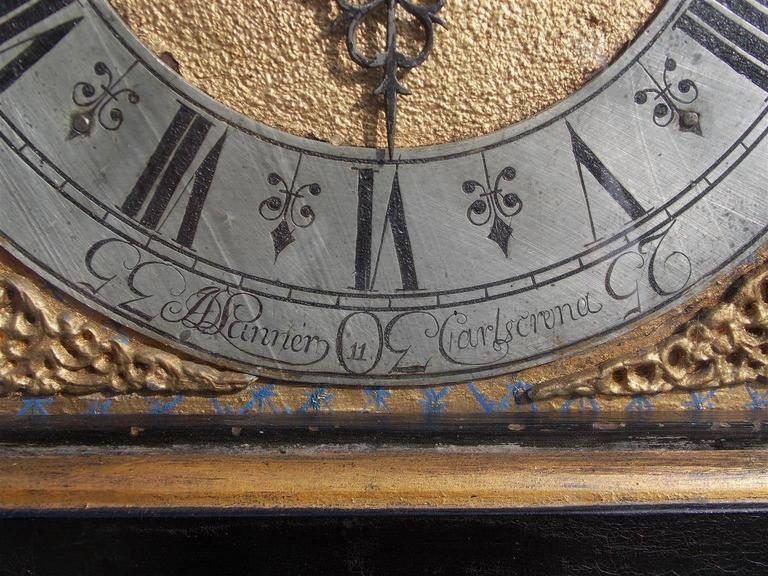 Wood Swedish Black Lacquered and Gilt Chinoiserie Tall Case Clock, Lanner, Circa 1775 For Sale