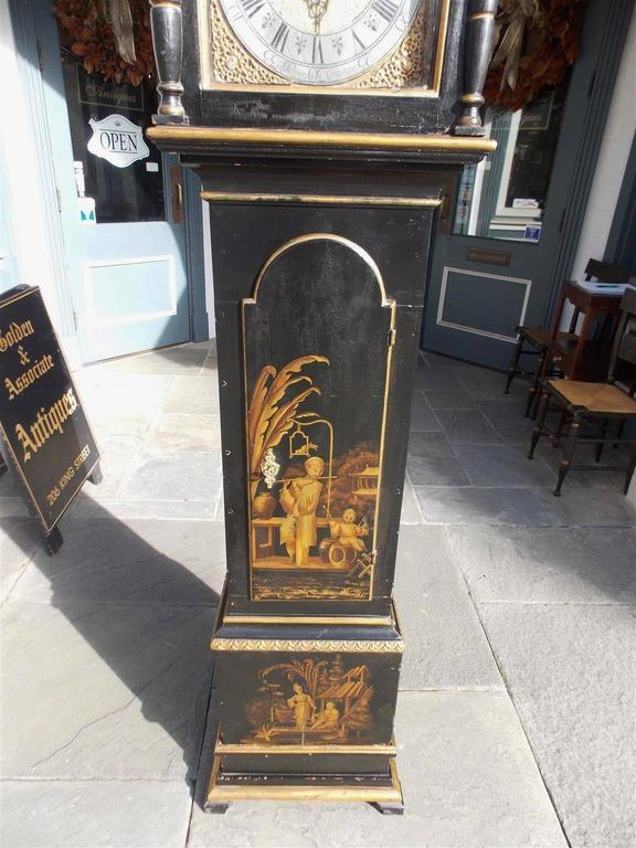 Swedish Black Lacquered and Gilt Chinoiserie Tall Case Clock, Lanner, Circa 1775 For Sale 1
