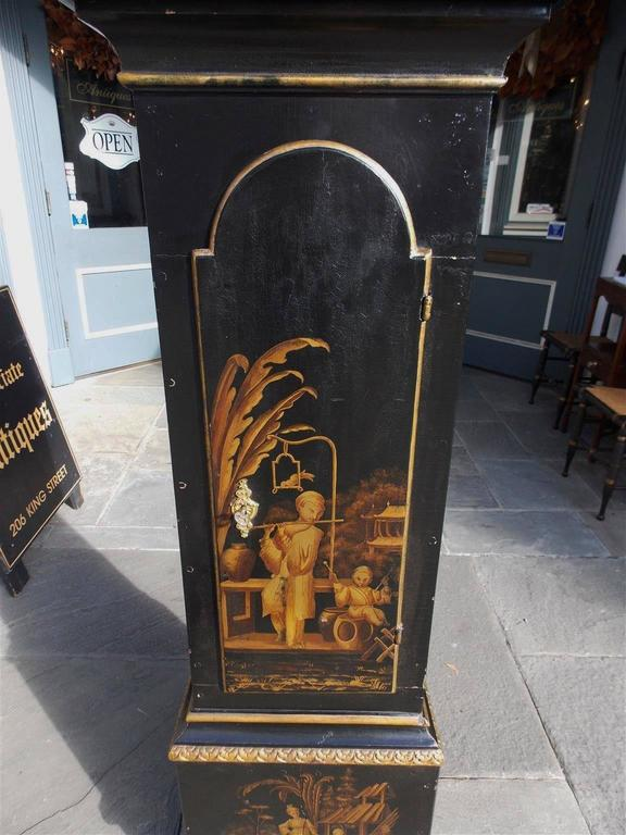 Swedish Black Lacquered and Gilt Chinoiserie Tall Case Clock, Lanner, Circa 1775 For Sale 2
