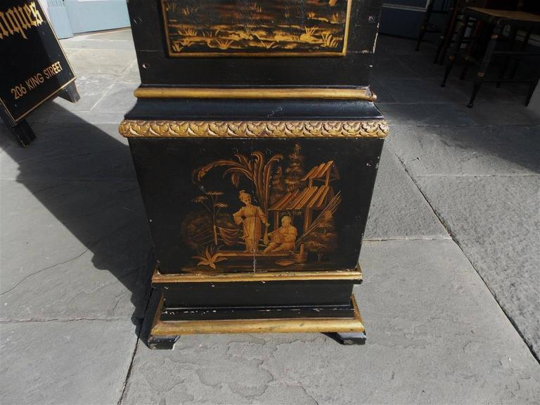 Swedish Black Lacquered and Gilt Chinoiserie Tall Case Clock, Lanner, Circa 1775 For Sale 3