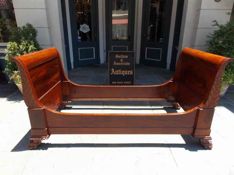 pair of american cuban mahogany twin sleigh beds circa new york 2 - Twin Sleigh Bed